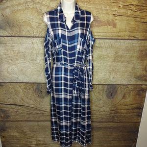Maison Jules XL Plaid Cold Shoulder Midi Dress